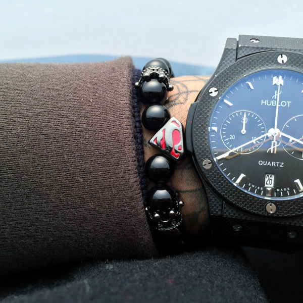 Black Superman Natural Stone Bead Bracelet - Fitness Elephants