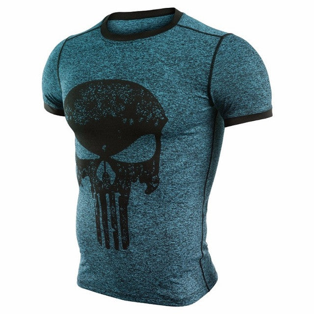 Blue Punisher Compression Shirt - Fitness Elephants