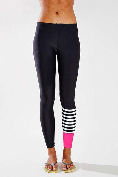 Black White Striped Legging - Fitness Elephants