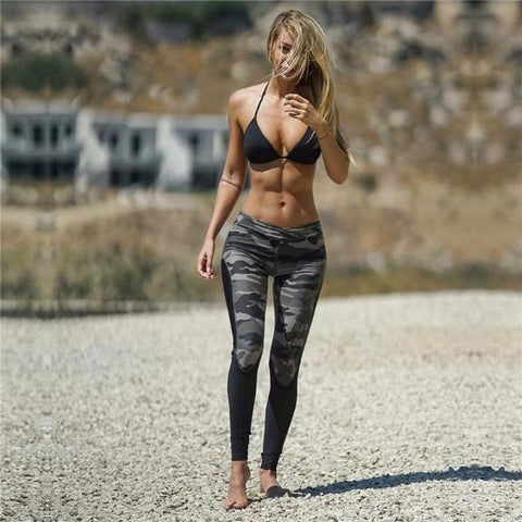 Camouflage High Waist Patchwork Legging - Fitness Elephants