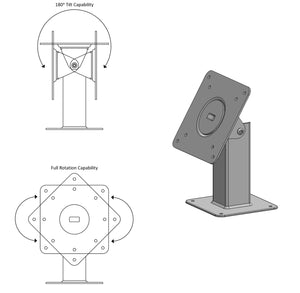 180 Tilting 360 Rotating 75/100 VESA Metal Mount for Desktop or Wall Mount