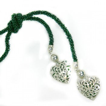 Beaded Heart  & Knot Necklace