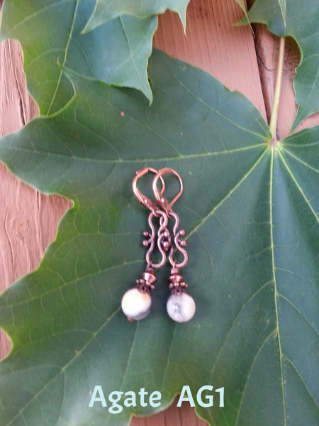 Stone & Copper Earrings
