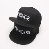 Free PRINCE PRINCESS  Pair Embroidered Rapper Cap Set Black