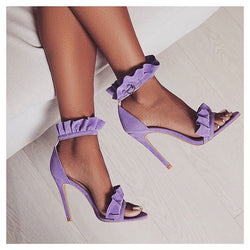 KIRAH  FRILL LILAC FAUX SUEDE