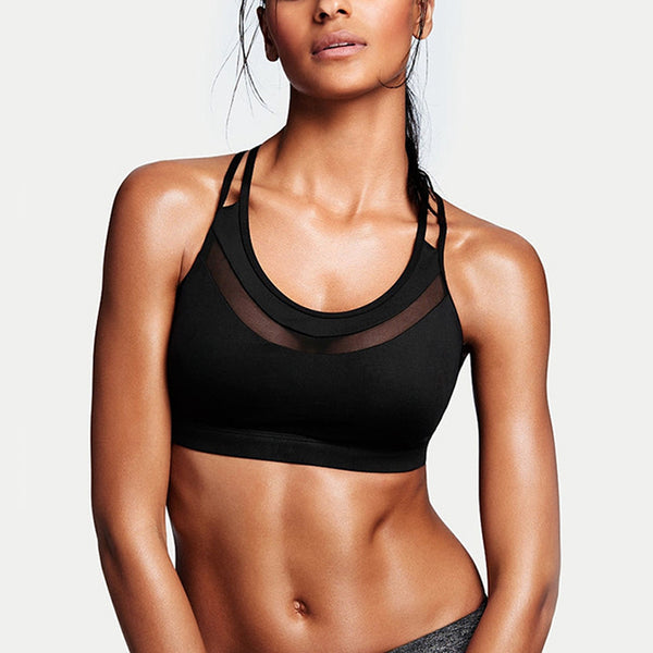 KEIRA BLACK MESH GYM BRA