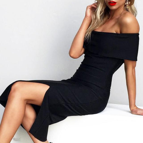 MARIA BLACK BANDAGE OFF SHOUDER DRESS