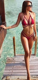 Moana Burgundy Two piece Suits  Beach Hollow Out