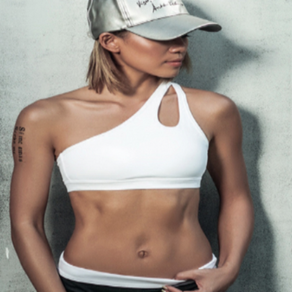 OFF SHOULDER WHITE SPORT BRA