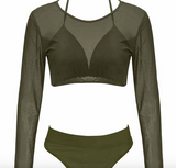 ZARIA ARMY GREEN MESH DESIGN 3 PIECE SWIMSUIT