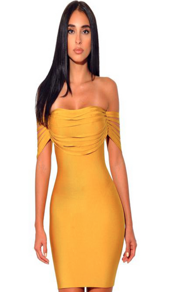 TIRA  CUT OUT YELLOW BANDAGE DRESS