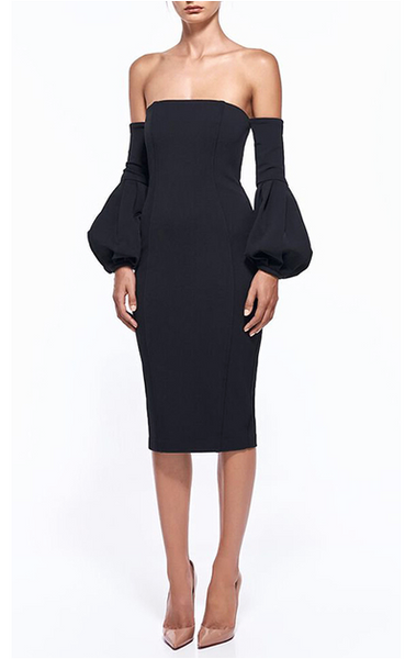 PUFF SLEEVE BARDOT MIDI BANDAGE BLACK DRESS