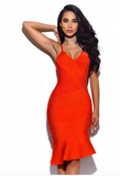 Liane Flared Hem Red Bandage Dress