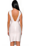 MELIZ WHITE CUT OUT SLIT BANDAGE DRESS