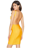 BARDOT YELLOW BACKLESS BANDAGE DRESS