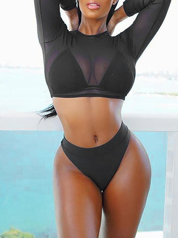 ZARIA BLACK MESH 3 PIECE SWIMSUIT