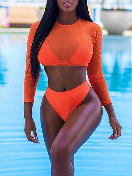 ZARIA ORANGE MESH 3 PIECE SWIMSUIT