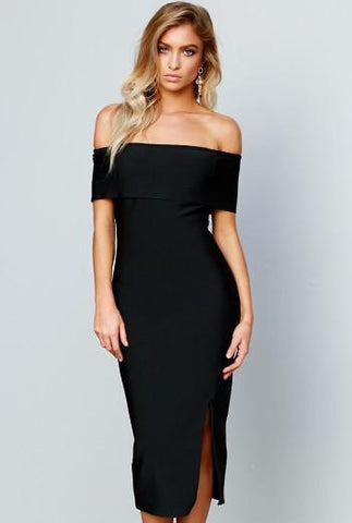 MARIA BLACK BANDAGE OFF SHOULDER DRESS