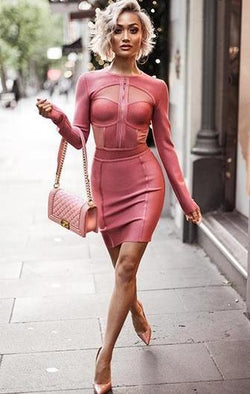 PINK MESH CUT OUT LONG SLEEVE BANDAGE DRESS
