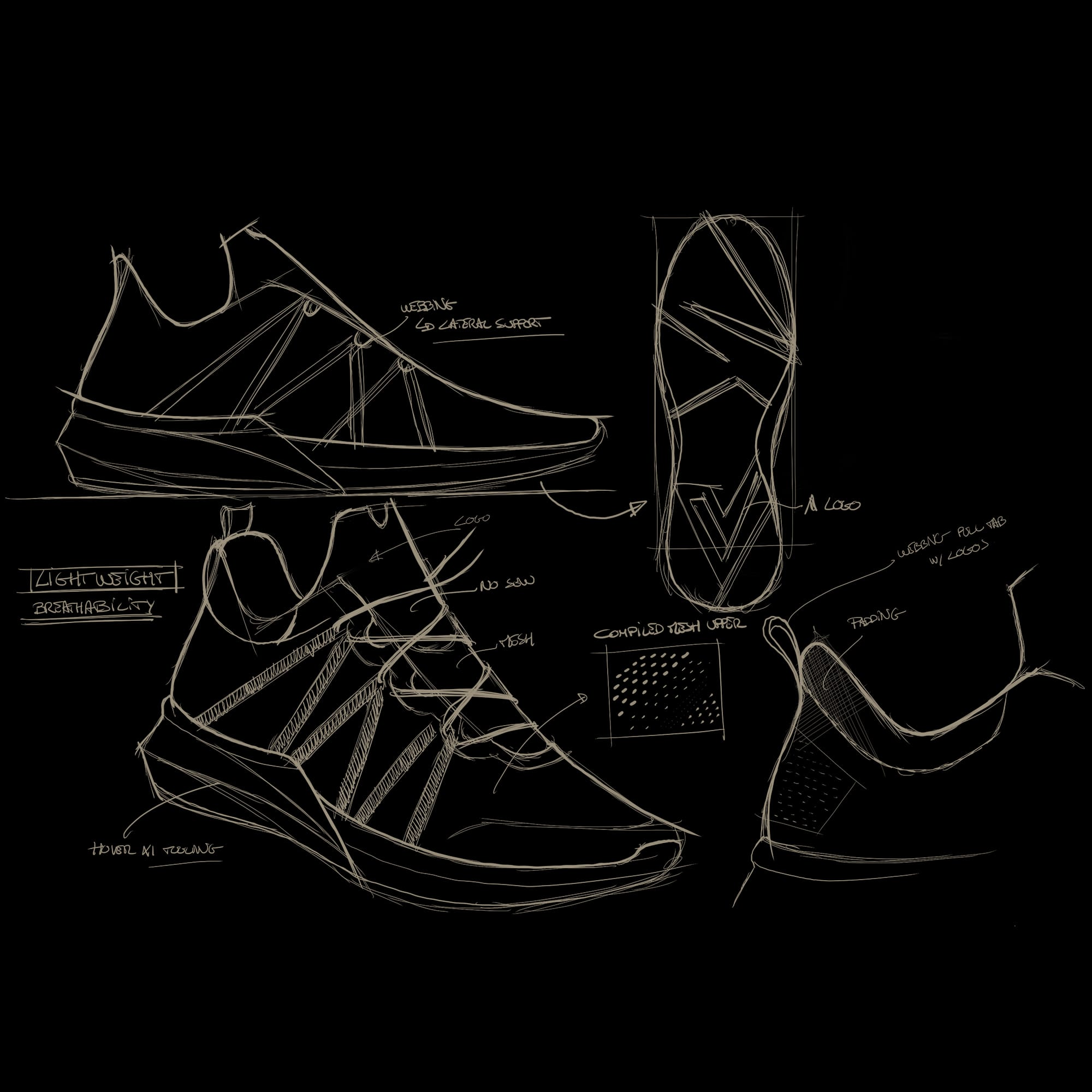 Early Velcalite sneaker sketch by Martin Chapuy