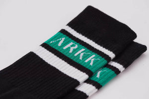ARKK Accessories The High Sock - Striped Black Soft Teal The High Sock - Striped