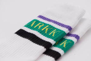 ARKK Accessories The High Sock - Striped White Soft Teal The High Sock - Striped White Soft Teal