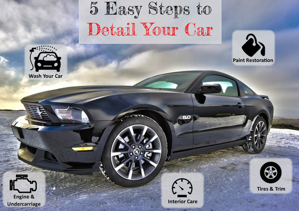 Five Steps to Detail Your Car image of Mustang GT with icons describing the detail process.