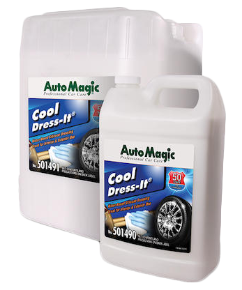 Auto Magic Cool Dress-It is a silicone infused, water-based dressing for interior and exterior use