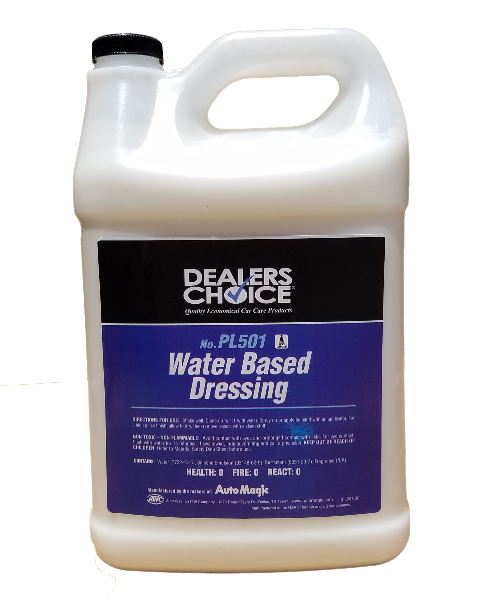 Dealer's Choice Water-Based Tire Dressing to shine tires, vinyl, moldings, and interior trim. 1 & 5 Gallon size