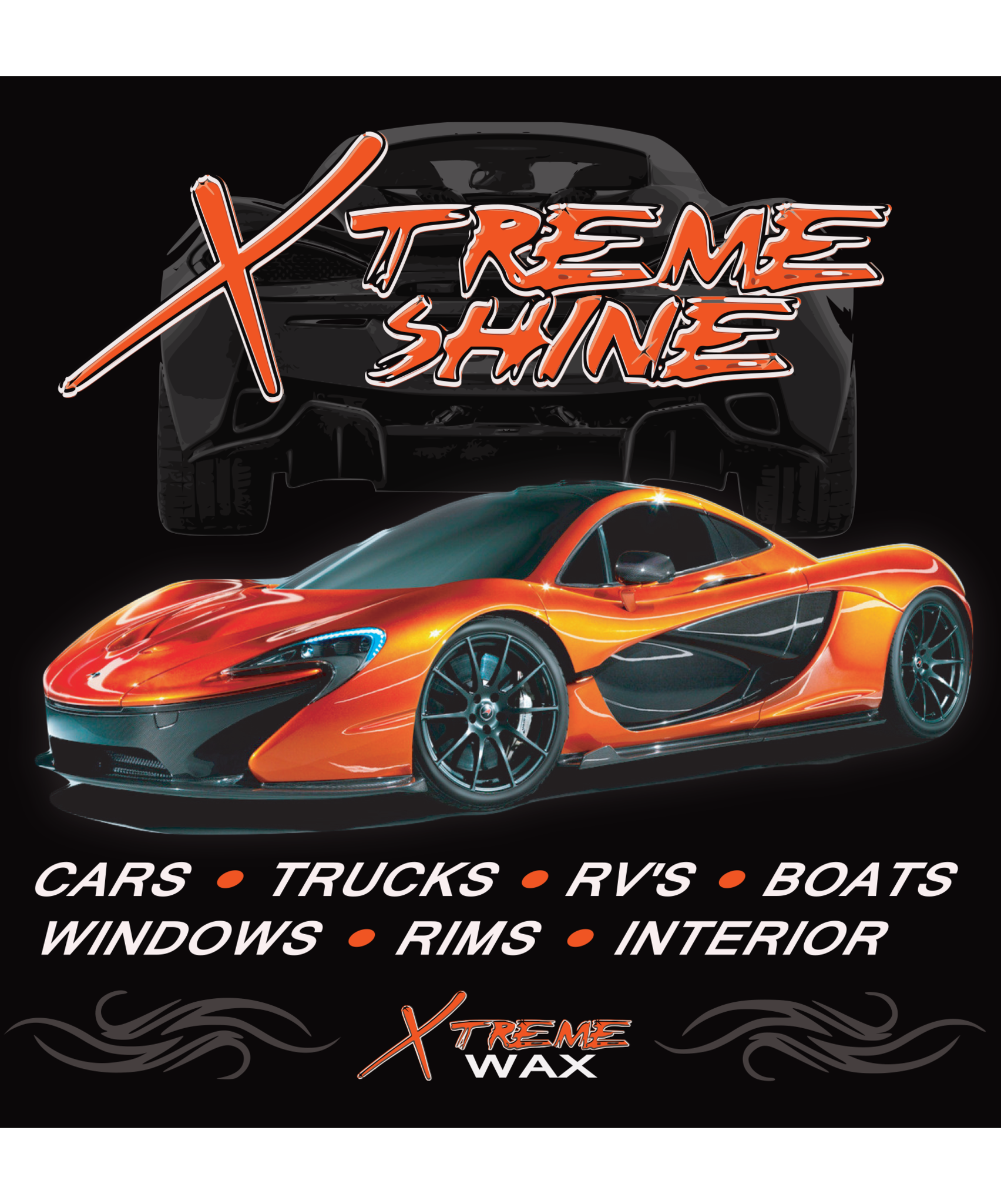 Image of sports car with label Xtreme Shine Quick Detail Spray. A spray car wax protectant, detailer and clay lubricant
