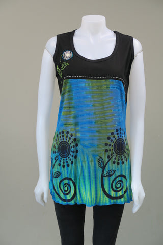 Tie Dye Flower print Sleeveless Tunic