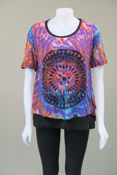 Tie Dye Circle Print 1/2 sleeve Tunic