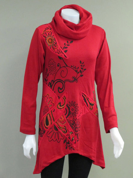 Print Emb Leaf Tunic Top