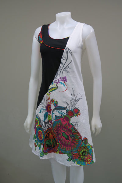Printed Cambric Cotton Sleeveless Dress