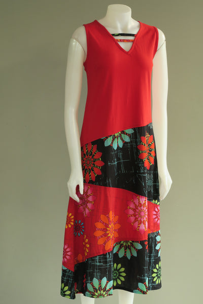 Flower Print Panel S/Less Long Dress