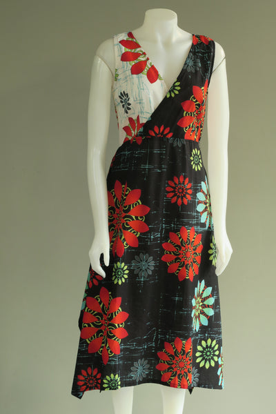 Flower Print Cross Over S/Less Dress