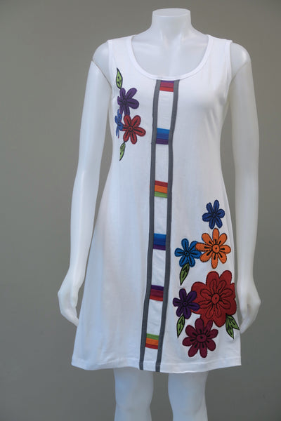 Rainbow Flowered sleeveless Dress