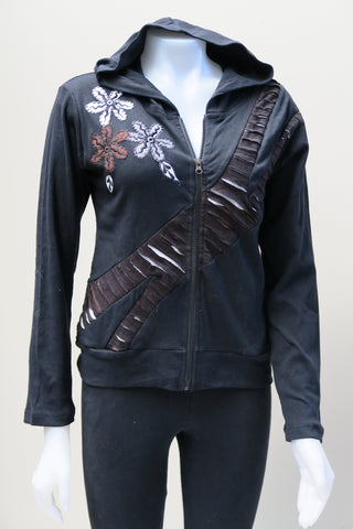 Rib Flower Cut Short Hoody  Jacket