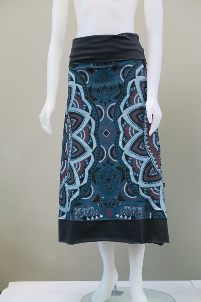 Multi Coloured Print Roll Top Long Skirt