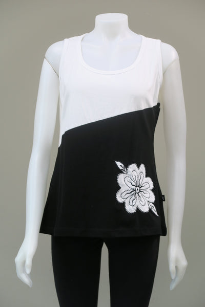 2-Tone Sleeveless Flower Top