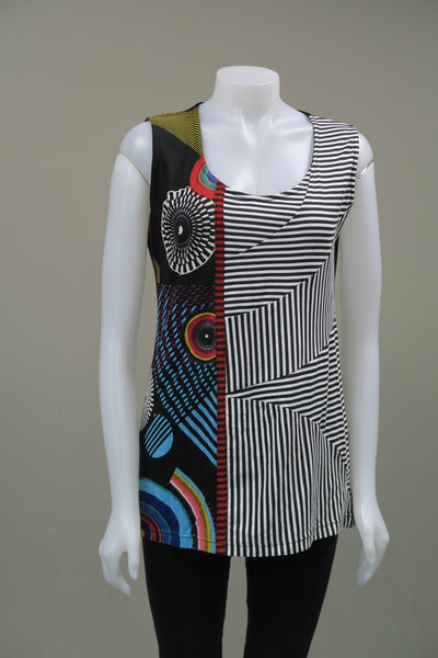 Print Stripe Sleeveless Top