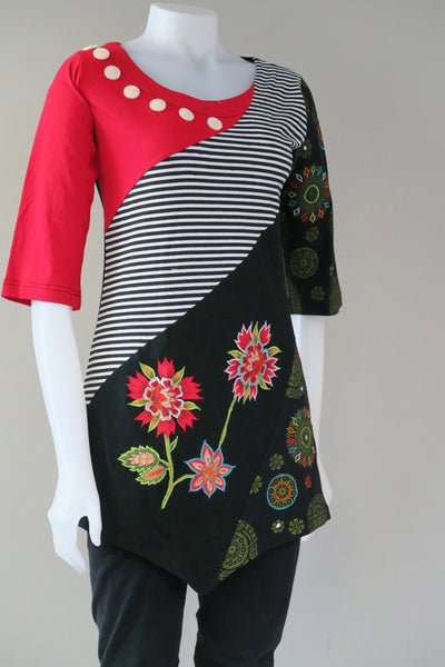 3/4 Sleeve Stripe/Mandala Tunic Top