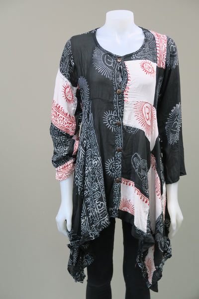 Prayer Shawl Button Up Sleeved Tunic