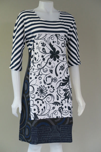 Organic Stripe 3/4 Sleeve Dress with Mantra Print