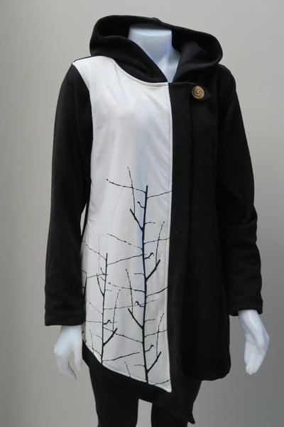 Tree Print Fleece Assymetrical Jacket