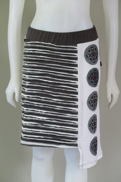 Stripe A line skirt Emb. Patches