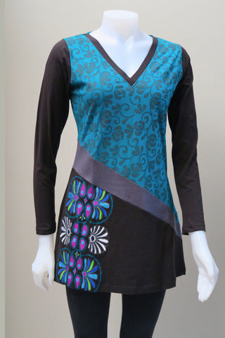 Organic Cotton V-Neck Emb. Tunic