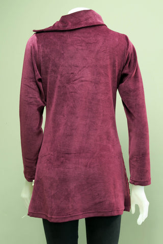 TT-T9920-MA - Velvet Cotton Emb Circle Patch Tunic