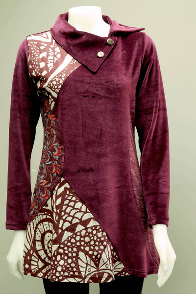 Velvet Cotton Emb Circle Patch Tunic