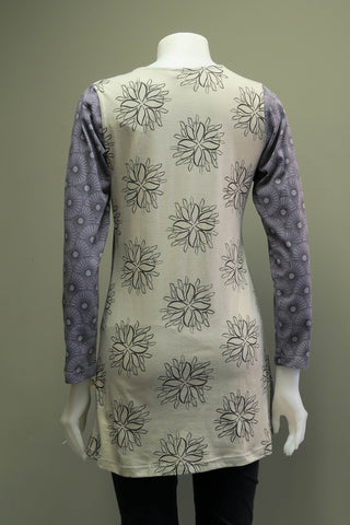TT-T9921-GR - Org. Cotton Print Tunic